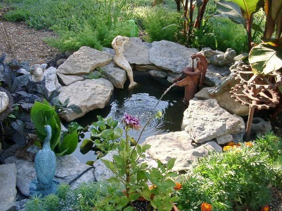Pam McCloud used a vintage pump for her pond