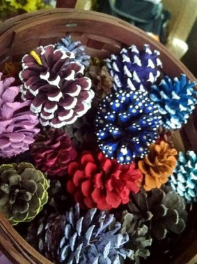 Margie Ann The basket of cones I am working on with one of my grands