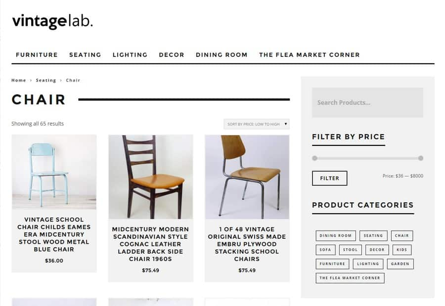Vintagelab sells a selection of ecclectic retro chairs, for all budgets
