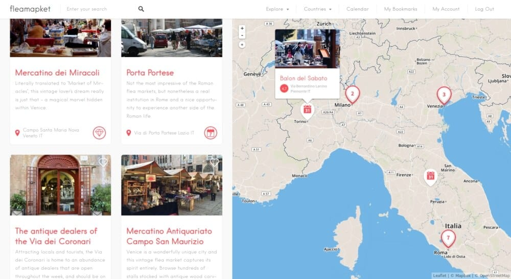 map of the best flea markets in Italy