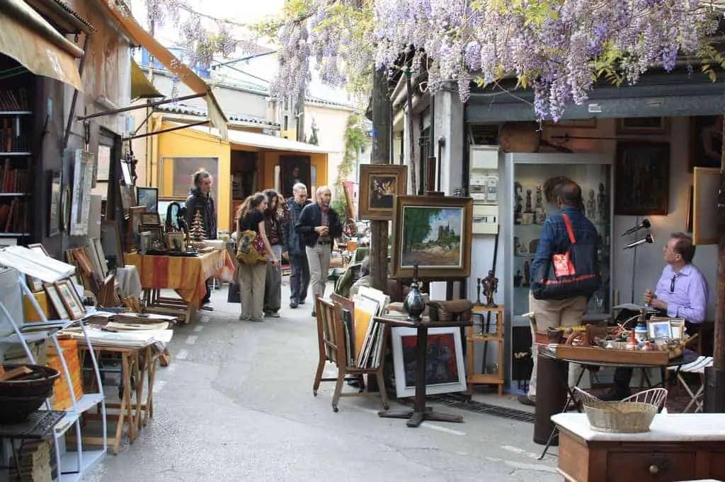 Paris flea markets : an outside view from the flea market in st ouen