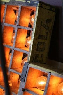 vintage soda crate and light bulbs