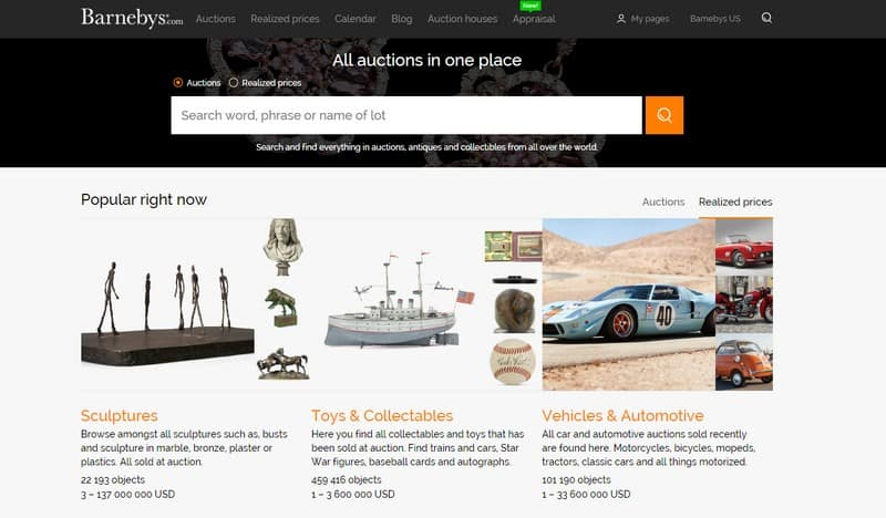 barneby's landing page for antiques online auctions