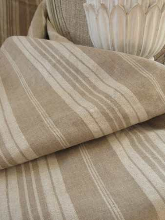 French Provincial Decor - Antique French linen ticking khaki stripe