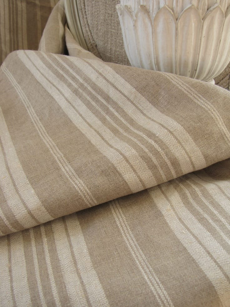 French Provincial Decor Antique French linen ticking khaki stripe