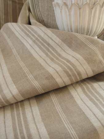 French Provincial Decor - Antique French linen ticking khaki stripe