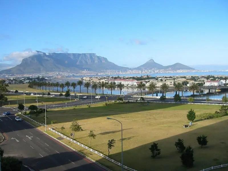 Milnerton view on the beach and Table Mountain