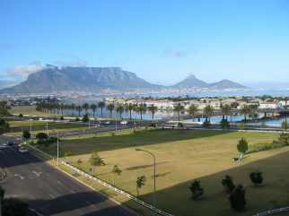 Milnerton view on the beach and Table Mountain