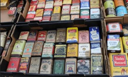 tin boxes rogers flea market