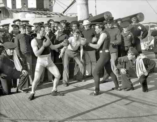 Boxing match aboard the U.S.S. New York July 3 1899 bw