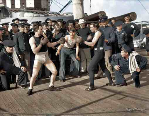 Boxing match aboard the U.S.S. New York July 3 1899