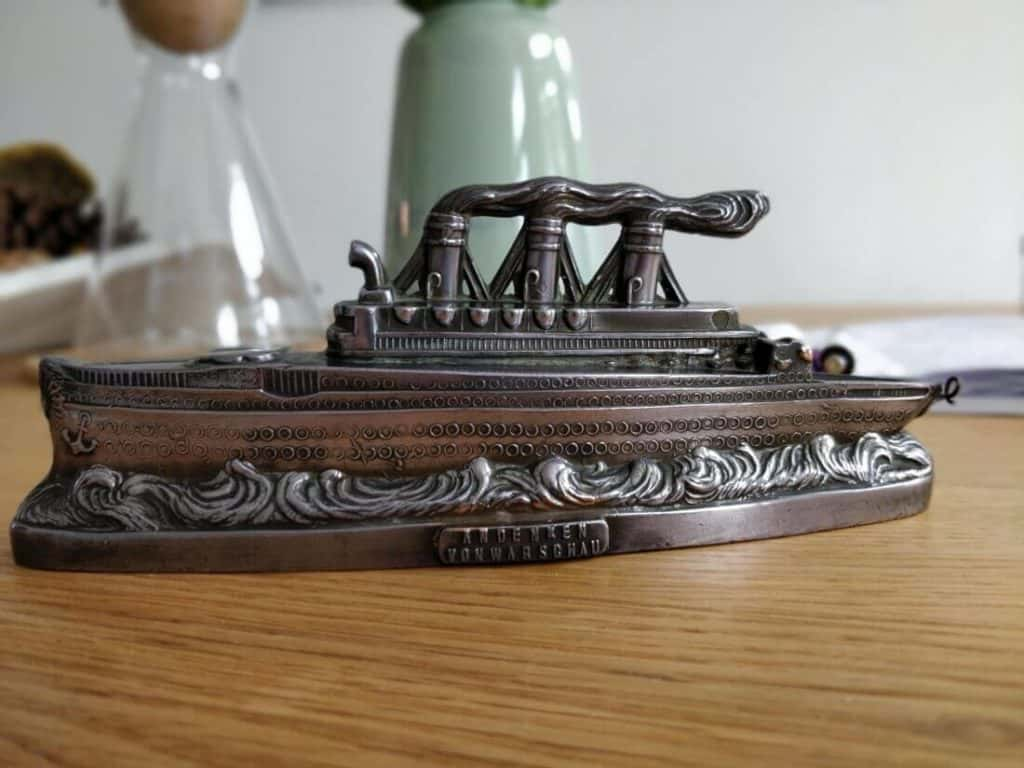 Art Deco pewter cruise ship moneybox 2
