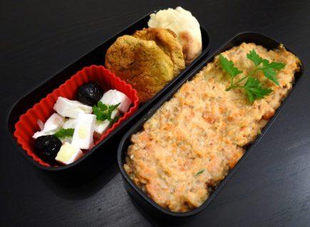 Fleanette's Kitchen - Falafels, feta, pita et houmous, accompagné d'une purée sarrasin carotte