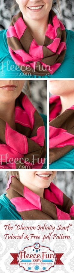 I love this simple chevron infinity scarf tutorial.  easy to sew and fun to make.  Plus there is a video tutorial too!  Love this DIY idea.