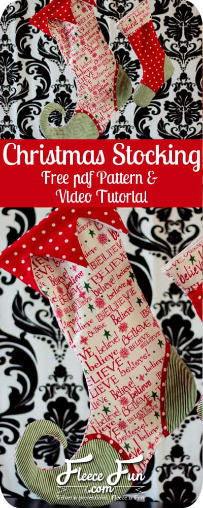 I love this free Christmas stocking sewing pattern. There are two sizes and two types you can make! Perfect DIY idea for the holidays. Love this Sewing project. Christmas stocking how to