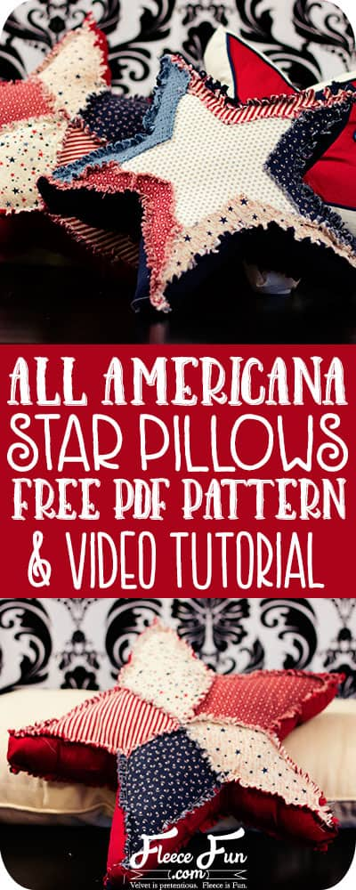 I love these ragged patriotic star pillows!  The free pattern and instructions are awesome.  Plus she has a video tutorial to walk me through it.  Great summer sewing DIY project idea!