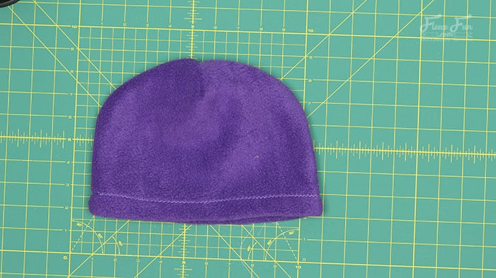 step 4a - turn the fleece hat right side out.