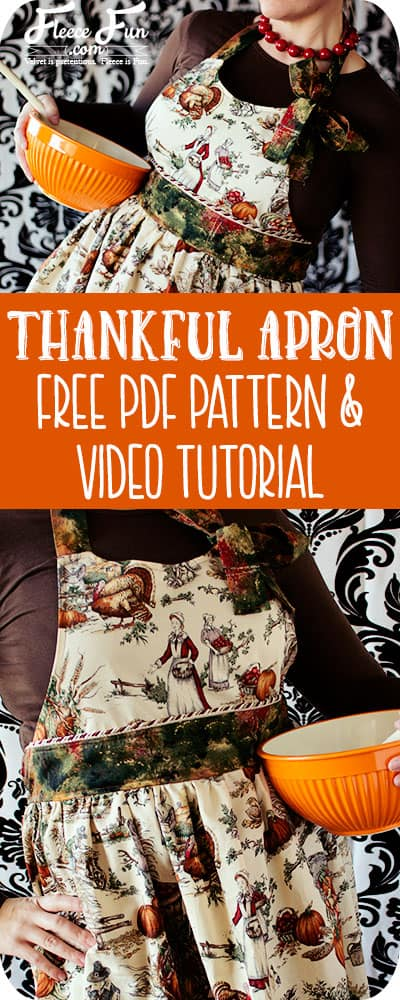 Love the side neck tie on this apron! Can't believe this is a FREE pattern and there's a video tutorial to explain it. Wow.