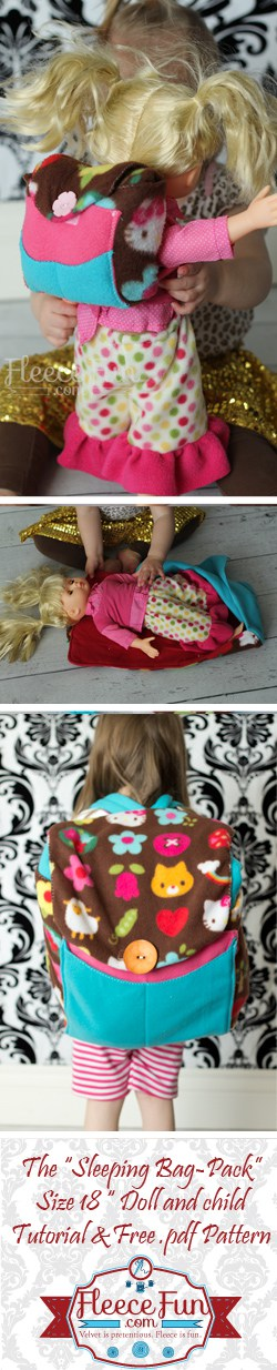 I love this little sleeping bag pack for dolly.  Perfect for 18 inch dolls and toys.  Sewing DIY idea with a free pdf pattern.