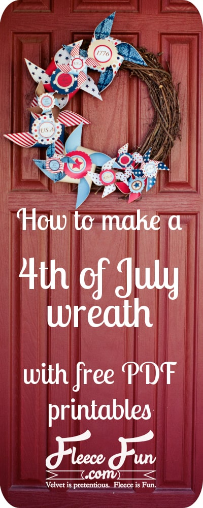 I love this 4th of July wreath tutorial.  It comes with these free printable pinwheels to really make it pop!  Great DIY idea for summer.
