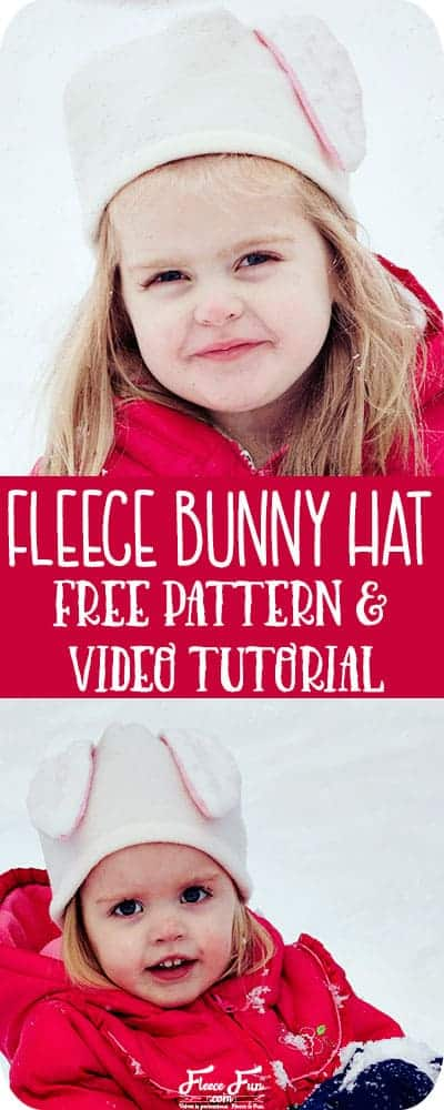 I love this cute free pattern fleece bunny hat. Easy fleece sewing project.  Perfect winter sewing project. Love this sewing DIY idea.  Great fleece hat for kids.