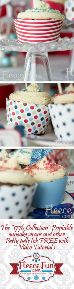 Free printable 4th of July cupcake wraps from Fleecefun.com! Part of the 1776 collection Fleece Fun is giving away for FREE! :Love this!