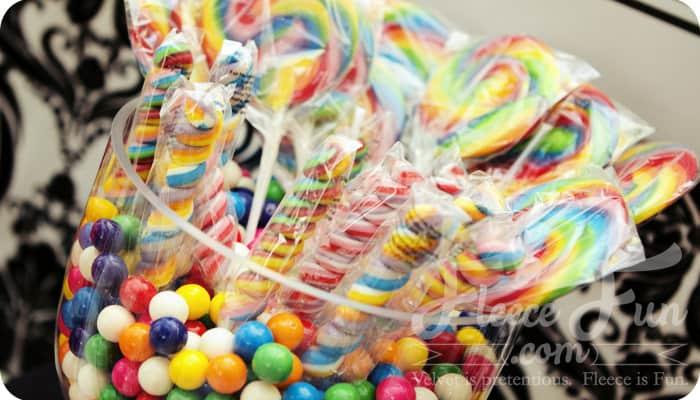 rainbow party decor candy