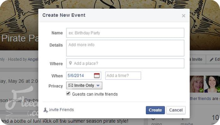 create new  event box