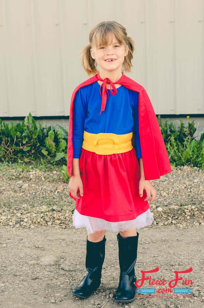 This Supergirl costume tutorial is perfect for Halloween and dress up. With the free pattern and step by step tutorial she'll be ready in a flash!