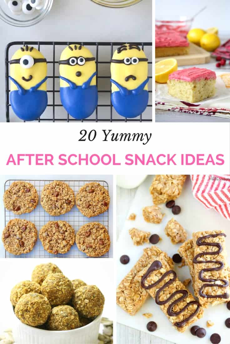 20 Yummy After School Snacks that won't spoil dinner, but will fill them up. From healthy blackberry hazelnut bars, whole grain peach muffins, apple peanut butter sandwiches, pomegranate oatmeal snack cups, and more, these recipes will put a healthier spin on snack time.