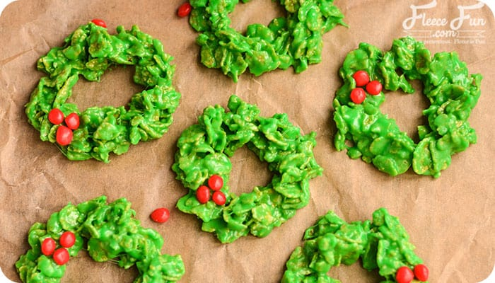 No Bake Christmas Wreath Cookies Recipe Fleece Fun