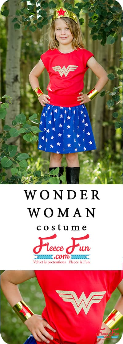 Love this Wonder Woman Costume for Kids DIY.  Perfect easy to make Halloween costume idea.  Looks like an easy sewing project too! Great costume DIY for girls.