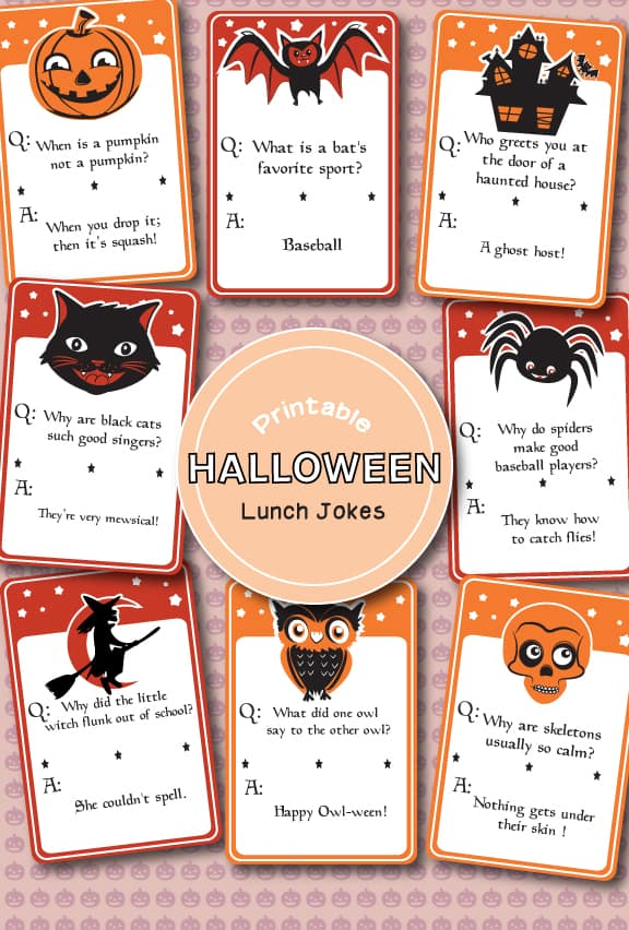 I love these Halloween Lunch Box Printables (Free).  They are perfect school lunch ideas and way to add a little spooky fun to your child's day.  Just print up and slide into their lunchbox.