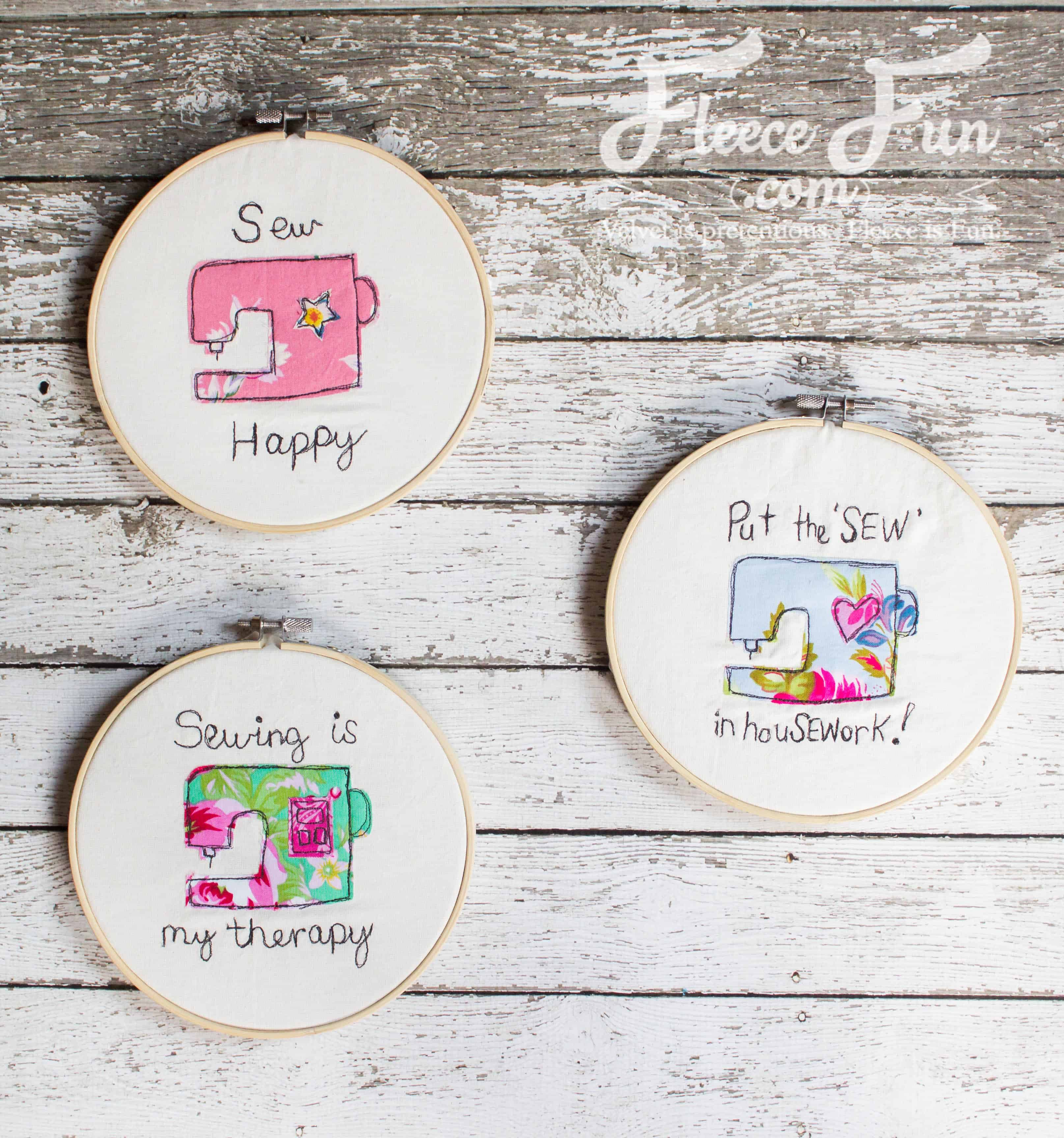 I love this Sewing Machine Hoop Art Tutorial. wonderful sewing project and handmade gift ideas for friends. This is perfect for a sewist's wall and sewing studio. #handmade #handmadewithlove #handmadeisbetter #handmadegifts #handmadegiftsarethebest #sewing #sewingproject #sewcialist #sewr #freemotion #freemotionquilting