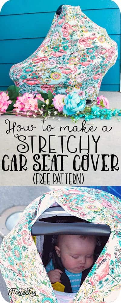 This Stretchy Baby Car Seat Cover Pattern sews up quickly!  With easy to follow step by step instructions and a free sewing pattern, this easy sew will be your go to baby gift!  So easy you can make several canopies in one sitting. #babypattern #sewingproject #freesewingpattern