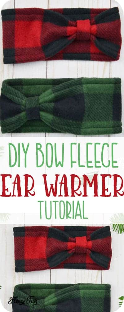 Make this cute Fleece Ear Warmer Headband DIY with bow styling. Great step by step instructions with pictures. Makes a great handmade gift. #handmadegiftidea #fleecesewingproject #sewingproject
