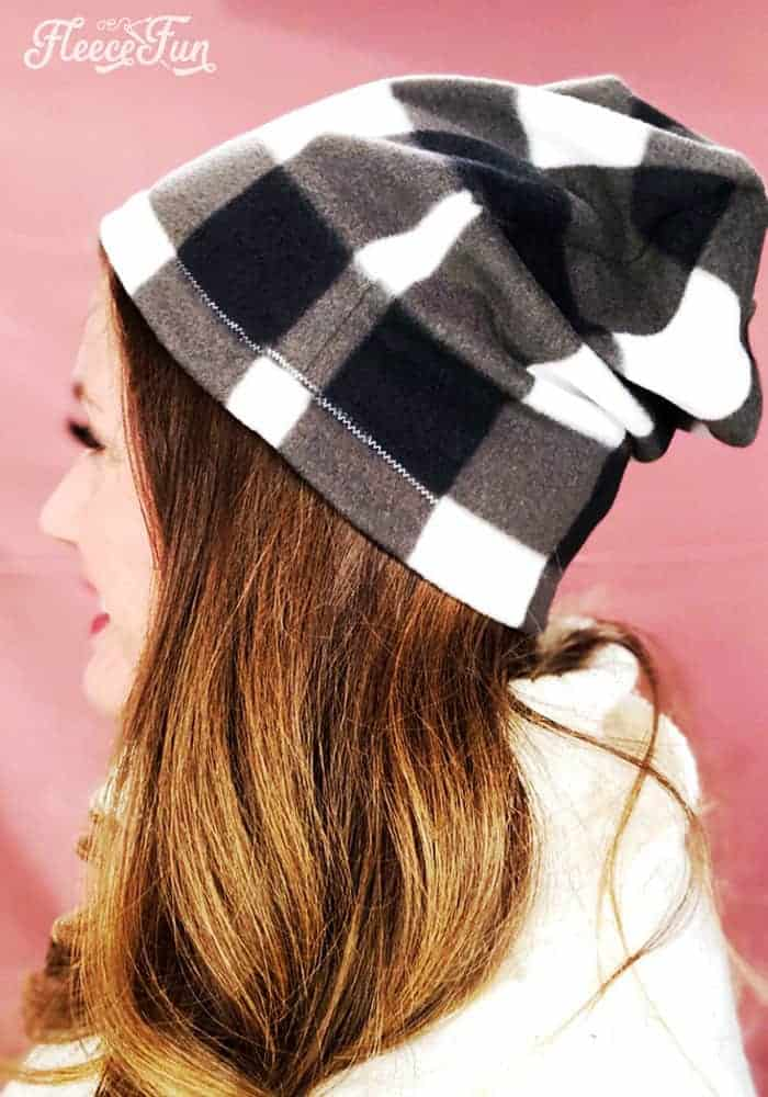 This Fleece Slouchy Beanie DIY comes with a FREE Pattern sizes baby to adult. Beginner friendly with clear step by step photos to make it easy. This fleece hat sew up quickly and makes wonderful gifts and keeps heads warm. Wonderful fleece sewing project.