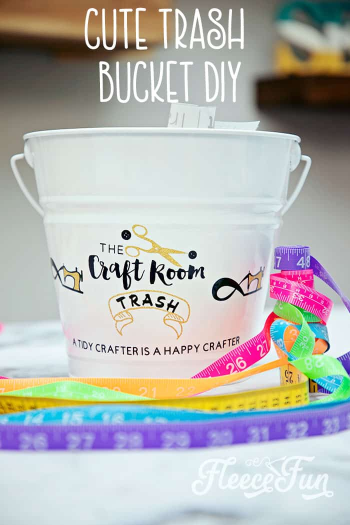 Make a Cute Trash Can for your craft space. Make your craft room tidy and cute with this fun to craft trash can. Beautiful step by step photos make it easy. #craftroom #trashcan #cricutmade #craftroomorganization