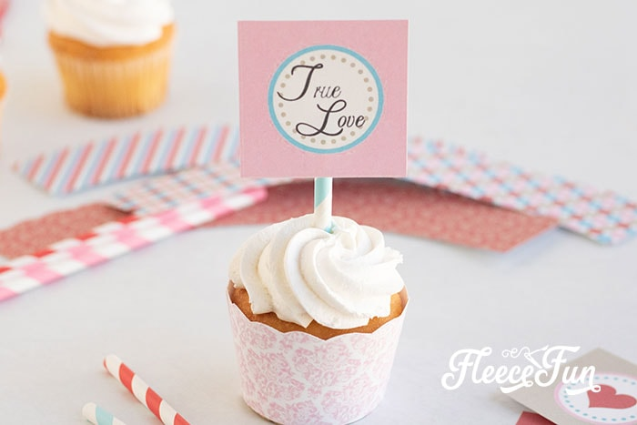 These free Valentines printables are cute and easy to make. Step by step instructions to make a Banner, cupcake wraps and more!