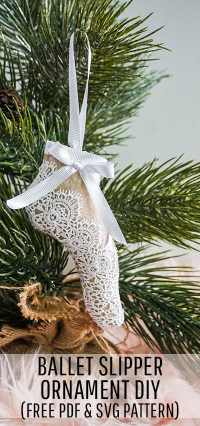 This delicate Ballet Slipper Handmade Ornament Tutorial is inspired by the Nutcracker Suite! Free PDF pattern and SVG file with step by step directions. #treedecorations #holidaycrafts #handmadeornaments #christmascheer #christmascraft #christmasdiy #christmasornament #christmasornaments #christmasdecoration #christmasdecorations #handmadechristmasdecoration