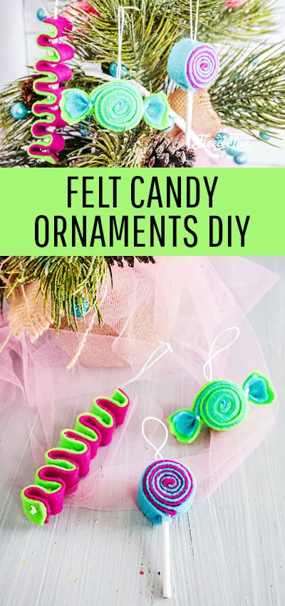 Felt candy Ornaments DIY. Easy and fast to make, so many different color schemes you can make these Christmas Tree ornaments in! #treedecorations #holidaycrafts #handmadeornaments #christmascraft #christmasdiy #christmasornament #christmasornaments #christmasdecoration #christmasdecorations #handmadechristmasdecoration