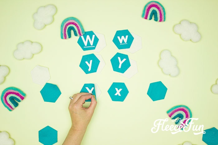 matching up fronts and back of hexagons. This Matching Game DIY is perfect for learning and made to be durable to last for several years of abuse from kids!