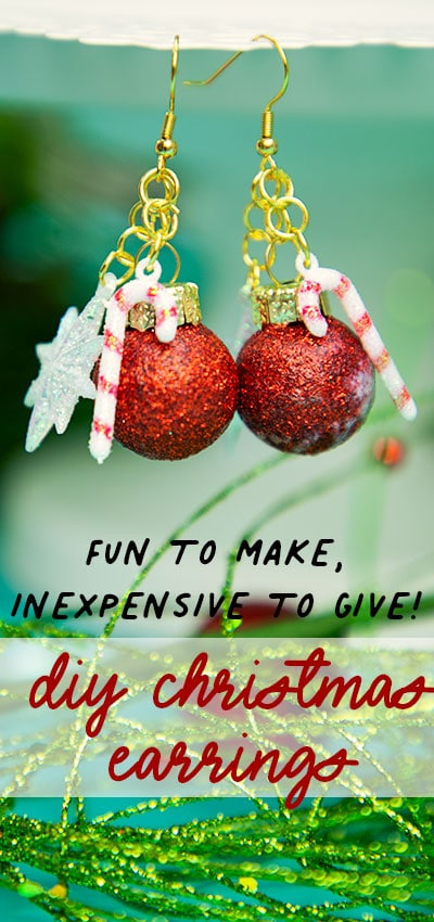 These DIY Christmas Earrings are an inexpensive homemade gift idea! Get the step by step instructions on how to make this chic but easy gift! #holidaycrafts #christmasbaubles #christmascraft #christmasdiy #xmascrafts #homemadegiftideas #handmadegiftideas #diyearrrings #christmasearrings
