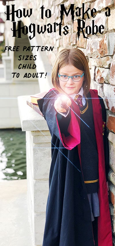 This Harry Potter Robe Pattern Free is perfect for your little Hogwarts Student. With step by step instructions and pictures so easy, even a muggle could understand them. Download the free sewing pdf pattern so your little wizard or witch can be ready for the sorting hat. #sewingproject #costume #harrypotter #halloweencostume #freesewingpattern #costumeDIY #potterhead #DIYcostumeideas