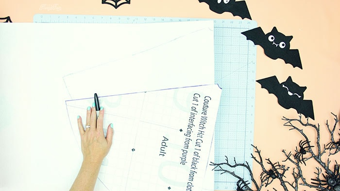 trace patter to interfacing. Learn how to make a witch hat with this free pdf pattern and step by step tutorial. This couture style hat is sure to be a favorite year after year.