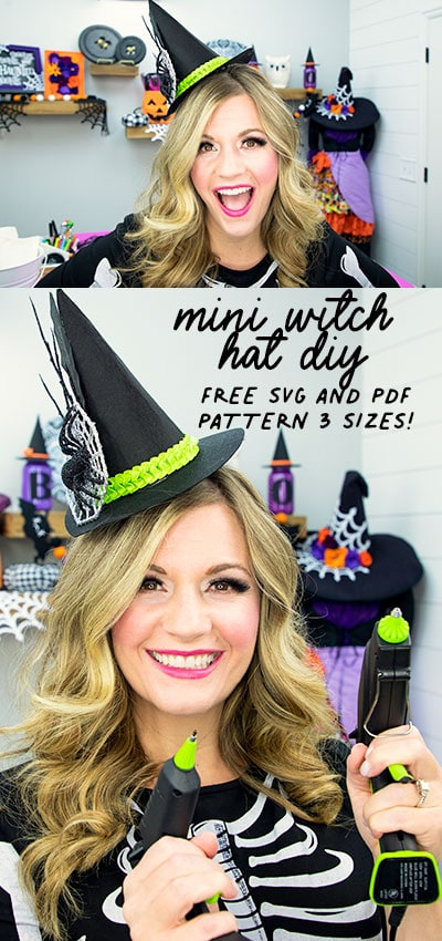 This mini witch hat template comes in 3 mini sizes to give you options to make the perfect mini hat! Free PDF or SVG file with step by step instructions. Perfect for Halloween DIY fun! #witchhatDIY #witchhatpattern #witchhatdiyfelt #miniwitchhatdiy #miniwitchhatheadband
