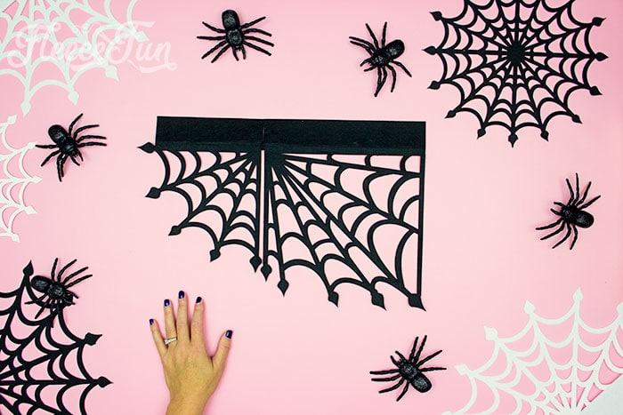 Cut out shelf corner piece. These Spider Web doilies Free SVG files are the perfect finishing touch to you Halloween decor!  The free SVG includes 3 designs for decorating spookiness!