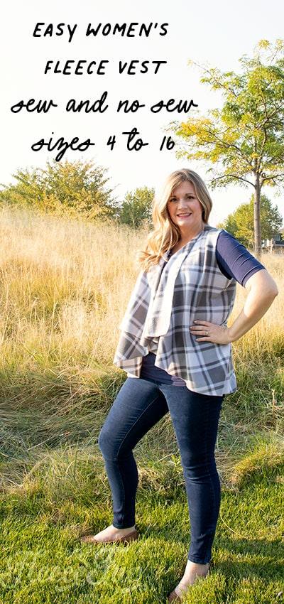 Women's Fleece Vest Pattern (Free – sew and no sew options!)