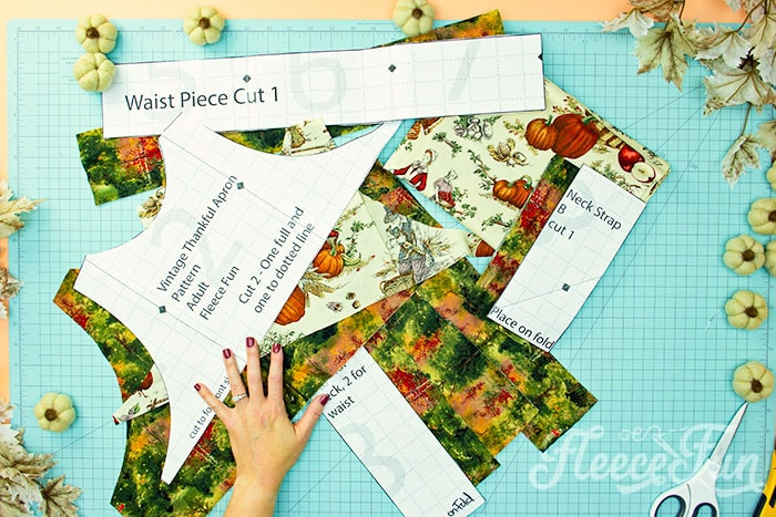 All items cut out. This Free apron pattern and tutorial includes a pdf pattern and video! Make a vintage style apron that is chic.