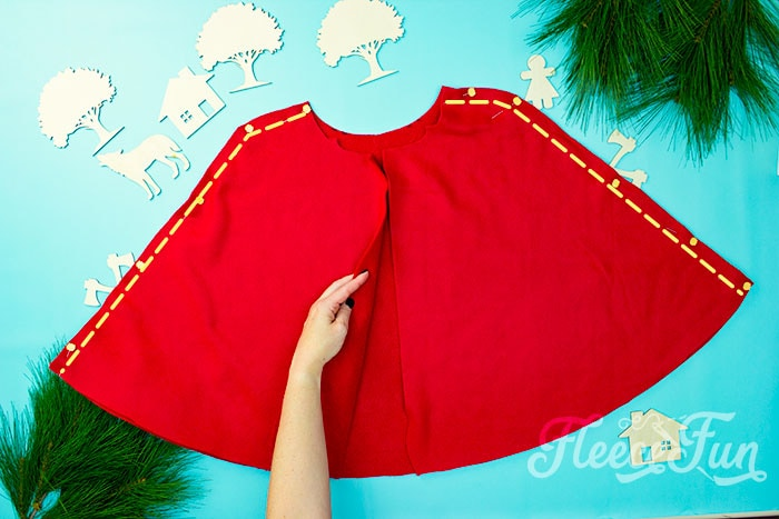 How to sew the sides to the cape.